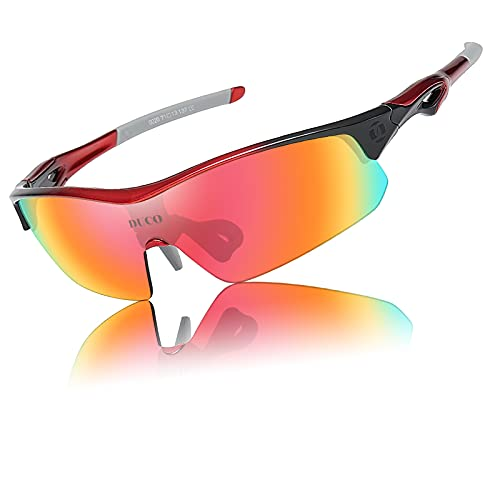 DUCO Polarized Sports Cycling Sunglasses for Men with 5...