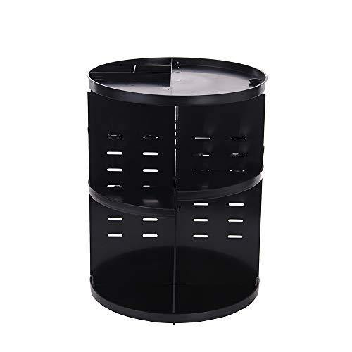 WANGLXCO Beau Organisateur De Maquillage, 360 Degrés Rotatif Bijoux Rangement Maquillage Cosmétique, pour Maquillage Et D'accessoires Hermétique, Black