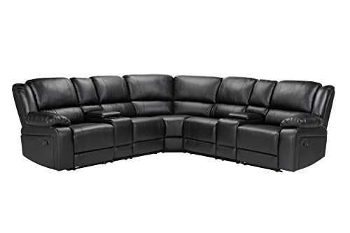 Tdbest Leather Sectional Sofa Living Room Sofa Set Reclining Corner with Cup Holders for Living Room, 7pcs (Black)