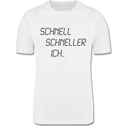 Sport Kind - schnell - schneller - ich - 116 (5/6 Jahre) - Weiß - Sportshirt mädchen - F350K - atmungsaktives Laufshirt/Funktionsshirt für Mädchen und Jungen
