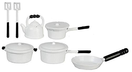 Puppenhaus Weiß Metall Kasserolle Pfanne Set & Wasserkocher Miniatur Küchenzubehör