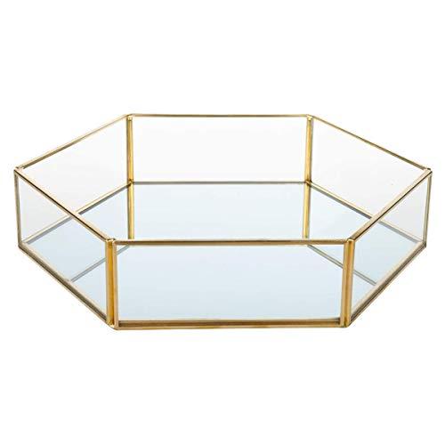 Andifany Bandeja de Cristal para Joyas con Borde Dorado, Transparente Caja de ExhibicióN de Joyas, Tocador, Ba?O y DecoracióN del Hogar
