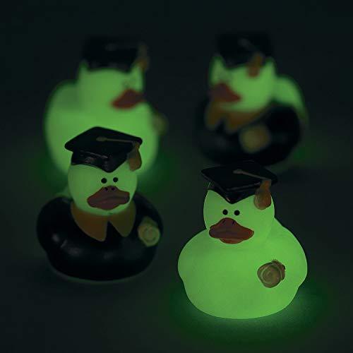 Fun Express Mini Glow in The Dark Graduation Duckies (Bulk Set of 24) Graduation Gifts and Party Supplies