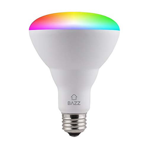 BAZZ BR30RGBTNWWF Smart Wi-Fi LED RGB BR30 10W Bulb, Dimmable, Energy Star, Color Change, Outdoor, Alexa and Google Home Compatible, 1, Matte White