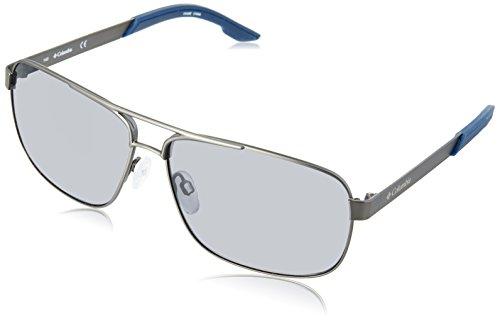 Columbia Men's Trails Edge Aviator Sunglasses, Satin Gun/Smoke, 61 mm