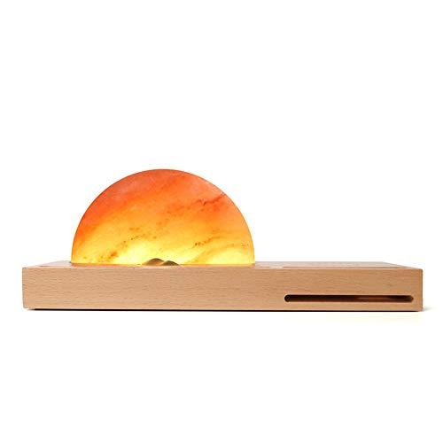 WangLx Ele Wireless Charger Charger Charger Raak het verduisteren van de zonsopgang Gestuurd geschenk nachtlampje zoutlamp Himalayas met de compatibele iPhone XS MAX/XR/XS/X/8/8 Plus, Beige