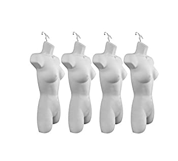 Only Hangers Set of Four Women s Torso Female Plastic Hanging Mannequin Body Forms in White - Pack of  4