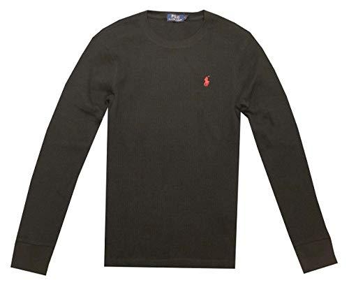 POLO RALPH LAUREN Men Waffle Knit Thermal Crew Shirt Blouse (L, Black)