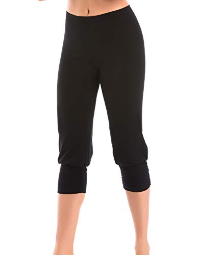 Teyli 2206 Women's Black Cotton Knee Length Leggings Xxlarge