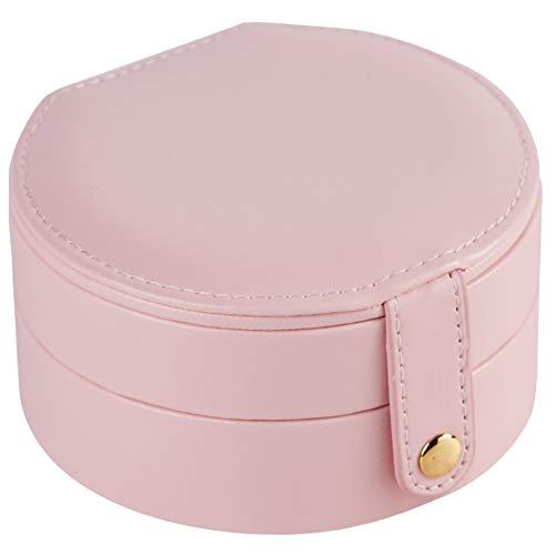 Fransande Caja de almacenamiento ovalada con espejo de maquillaje para mujer, de piel sintética, organizador de joyería de viaje, cinco colores, rosa