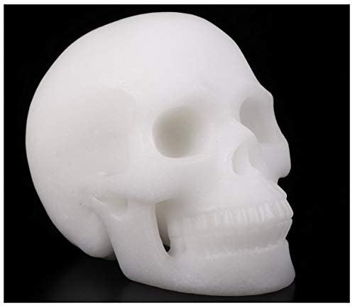 Skullis 5.0' White Jade Crystal Skull, Hand Carved Gemstone Fine Art Sculpture, Reiki Healing Stone Statue.