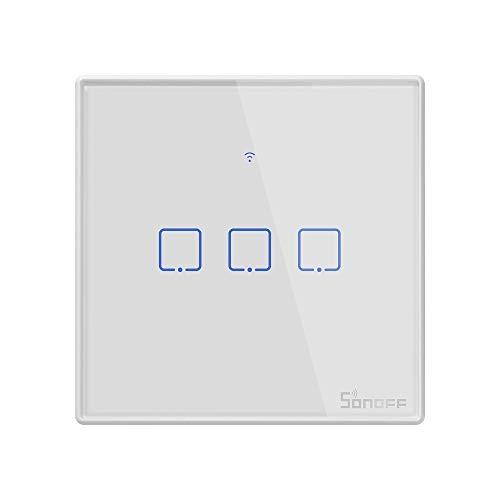 Shooff T2 Touch 86 mm Cambio de pared de panel de cristal templado de 86 mm Interruptor táctil inteligente para el hogar, compatible con Alexa y Google Home, AC 100V-240V, enchufe de la UE Alta calida