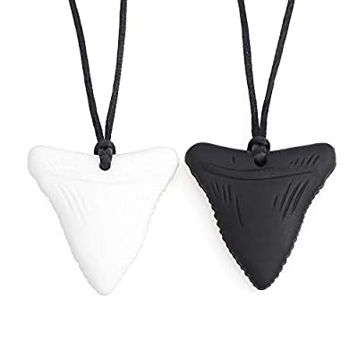 YWLI Chew Necklace, Shark Tooth Necklace 2PCS, Nail Biting Treatment for Kids, Chewy Necklace Sensory Chew Necklace for Boys, Chewelry Chew Necklaces for Sensory Kids