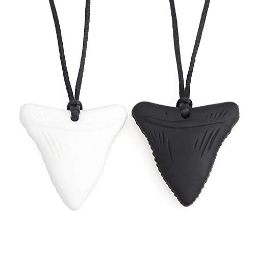 2 PCS Chew Necklace - Shark Tooth Necklace, Nail Biting Treatment for Kids, Chewy Necklace Sensory Chew Necklace for Boys, Chew Necklaces for Sensory Kids, YWLI