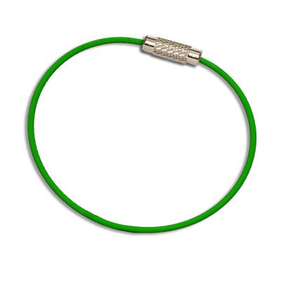 MantaRing - Cable Key Ring with Screw Lock - Strong, Flexible, Waterproof. One Ring for Keys and So Much More (Green)