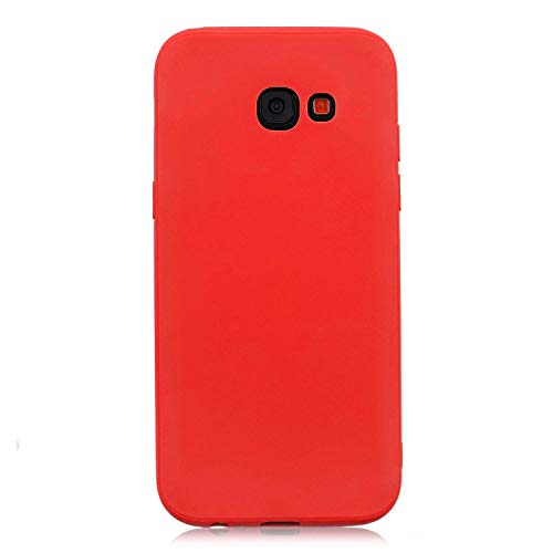 cuzz Coque Samsung Galaxy A3 2017+{1 Pièces Protège Écran en Verre Trempé}Couleur Unie Premium Flexible Souple Silicone TPU Etui Mince Ultra-Lumière Anti-dérapante {Rouge}