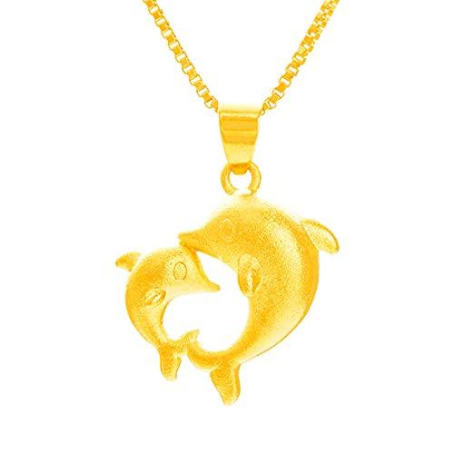N/A Collar Nuevo Doble Delfín D Duro Colgante Femenino Coreano Sirena Colgante Joyería Regalo del Día De San Valentín Regalo del Día De La Madre Regalo De Cumpleaños