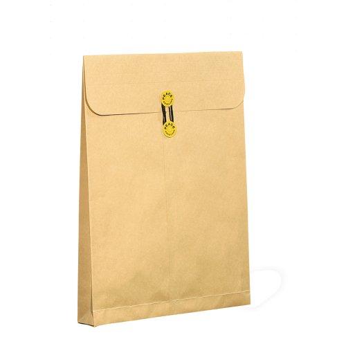 高春堂 マチ付き封筒 保存袋 ピース 角0 マチヒモ付 間伐材クラフト 120g50枚173-60