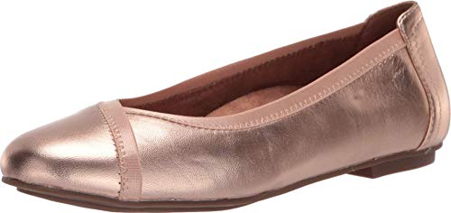 Vionic Women's Spark Caroll Ballet Flat - Ladies Dress Casual Shoes with Concealed Orthotic Arch Support Metallic Rose Gold 7.5 Wide US