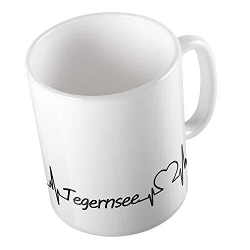 Bedruckte Tasse Becher Tegernsee Herzschlag Herz See Liebe Geschenk Keramik