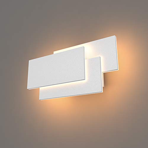 K-Bright Wandleuchte, 24W Wandleuchte, IP20 wasserdichte Wandleuchte, Modernes Design, elegantes Schlafzimmer, Flurwandleuchte, warmweiß, weiß