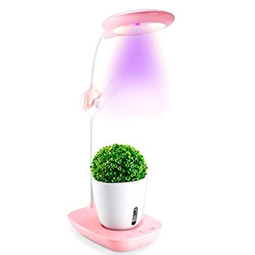 Doris Lámparas LED para Plantas, Kit De Cultivo Hidropónico, Kit De Jardinería Interior para Escritorio, Luz De Lectura USB, Tecla Táctil Jardín De Hierbas para Interior,Rosado
