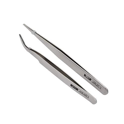 DIY 2 Stück Präzisions Pinzetten Edelstahl spitz und gekröpft für die Schmuckherstellung Perlenweben
