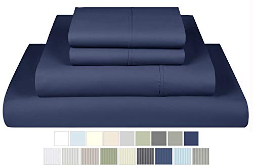 600 Thread Count 100% Pure Cotton Sheets - 4 Piece Cal King Sheet Set, Premium Extra Long Staple Cotton Yarn Hotel Quality Sateen Sheets with Deep Pocket, Cal King Size, Folkstone Blue