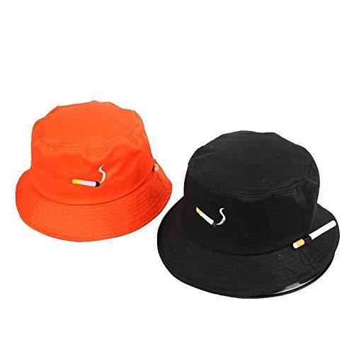 SUNXK Moda Femenina Pescador Papuleo Ocio Cigarrillo Bordado Bob Hat Cotton Outdoor Beach Sun Cap Hombres y Mujeres Gorra de Cubo genérico (Color : Black and Orange, Size : One Size)