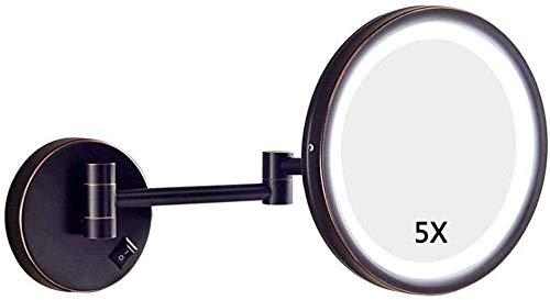 HGXC Espejo de tocador para el hogar, tocador, Espejo de Maquillaje, Montaje en Pared, con luz LED, 5 aumentos, Espejo cosmético Extensible de un Solo Lado