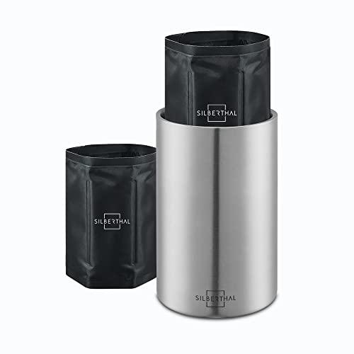 SILBERTHAL Refrigeratore Bottiglia Vino | Glacette per Vino Acciaio con 2 Busta raffredda Bottiglia | Raffreddatore Bottiglia di Vino tavola | Secchiello Vino refrigerante | Wine Cooler