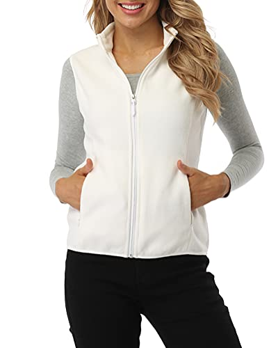 Fuinloth Women s Fleece Vest, Polar Soft Sleeveless Classic Fit with Zip up Pockets Ivory Medium