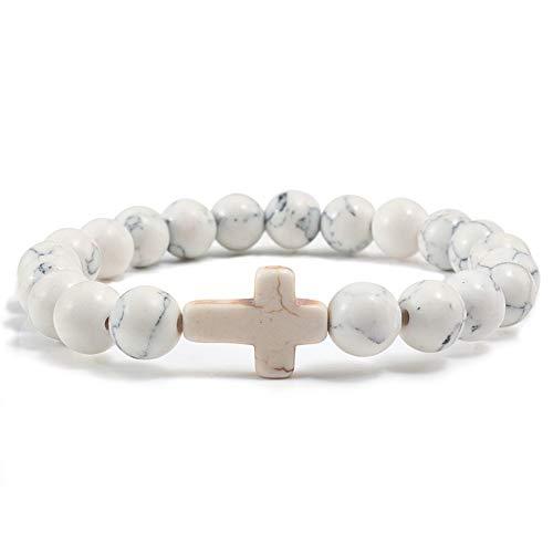 LLXXYY Stein Armband,Naturstein Marmor Perlen Armreif Armband Kreuz Handgemachte Männer Frauen Gebet Fitness Kette Paar Schmuck Geschenk Weiß