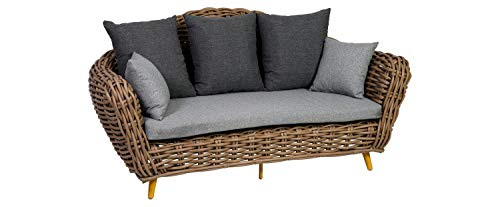 greemotion Outdoor-Sofa Loungesofa Diningsofa Couch Breitgeflecht Gartenmöbel Rattansofa 130904 braun