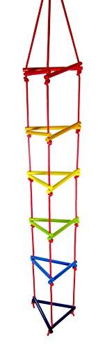 Hess Holzspielzeug 31107 Strickleiter aus Holz, dreieckig, handgefertigt, für Kinder ab 3 Jahren, ca. 200 x 30 x 30 cm, für unbegrenzten Kletterspaß im Haus und im Garten
