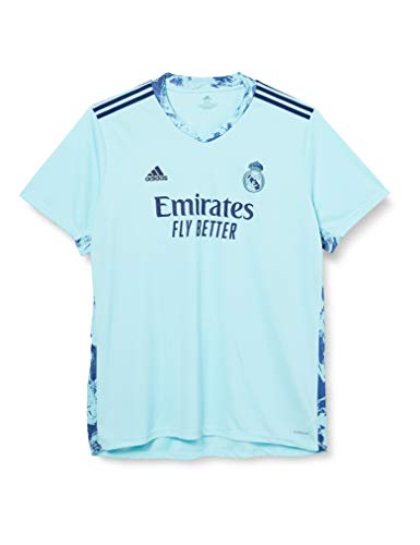 Adidas Real Madrid T-Shirt, Saison 2020/21, offizielle Torwart-Trikot, Erstausrüstung, offizielle Torwart-Ausrüstung, Unisex, Erwachsene L blau