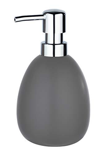 WENKO Seifenspender Polaris, nachfüllbarer Seifendosierer für Flüssigseife und Lotion aus hochwertiger Keramik, 10 x 16,5 x 9,4 cm, Füllmenge 390 ml, Grau matt