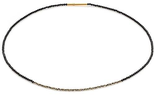 Spinell-Collier hochwertige Goldschmiedearbeit aus Deutschland mit schwarzen Spinellen und Pyrit - mit Sicherheitsverschluss - Spinell Kette