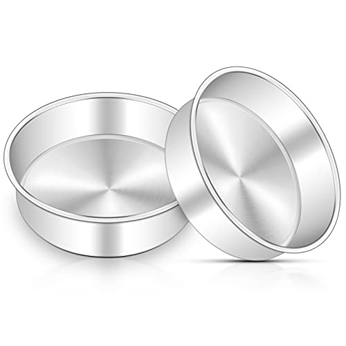 6 Inch Cake Pan Set of 2, Deedro Round Cake Baking Pans Stainless Steel Cake Pans for Wedding Birthday Layer Cake, One-piece Molding, Healthy & Durable, Mirror Finish & Dishwasher Safe