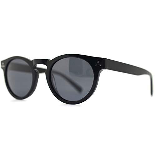 DKee Gafas de sol retro de montura grande HD UV400, pretección, polarizadas, luz negra, lente de resina, marco de panel unisex (color: negro)