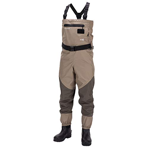 Bassdash Men's Breathable Lightweight Chest and Waist Convertible Waders for Fishing and Hunting, Stocking Foot and Boot Foot Waders Available in 7 Sizes (Boot Foot, XLK)
