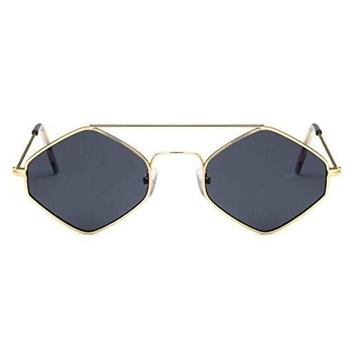 ZRTYJ Gafas de Sol Gafas de Sol rombo de los años 90 Nuevas Mujeres Gafas pequeñas de Metal Mar Chicas Gafas de Sol Gafas de Lente Transparente Uv400 Hombres Gafas Exteriores