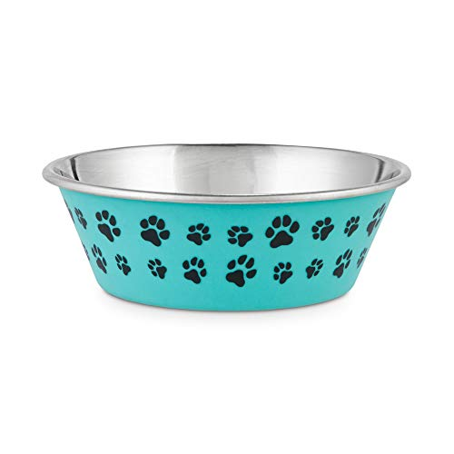 Petco Brand - Harmony Aqua Paws Skid-Resistant Stainless Steel Dog Bowl, 2 Cups, Small, Teal