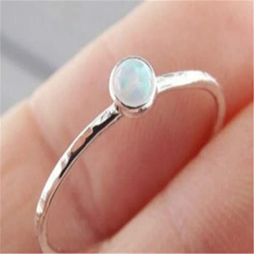 Dainty Round Fire Opal Rings For Women Silver Color Cz Engagement Rings In Copper Promise Ring For Valentine'S Day Gifts