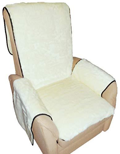 Holzdrehteile Sesselschoner Sesselauflage Sesselbezug Schoner Überwurf Auflage Creme hoher Flausch kuschlig weich