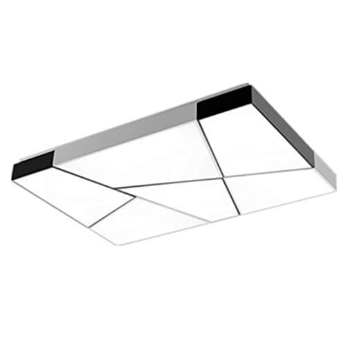 BFMBCHDJ Hierro rectangular Moderna Sala Comedor Dormitorio Luz de techo LED Lámpara de techo blanca y negra Luminoso blanco cálido 600x600x100mm
