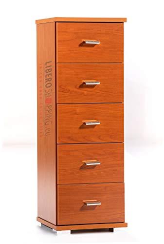 Mobile cassettiera piccola legno 5 cassetti multifunzione (Ciliegio)