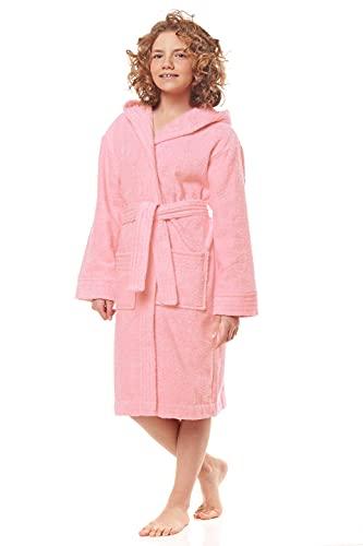 L&L - 2105 Albornoz infantil con capucha para niños y niñas, de rizo, de manga larga con cinturón de cadera, 100% algodón Albaricoque claro. 9-11 Años