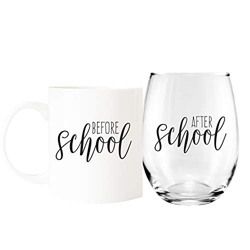 Before School / After School Coffee Mug and Stemless Wine Glass Gift Set / Teacher Gift / Daycare Gift
