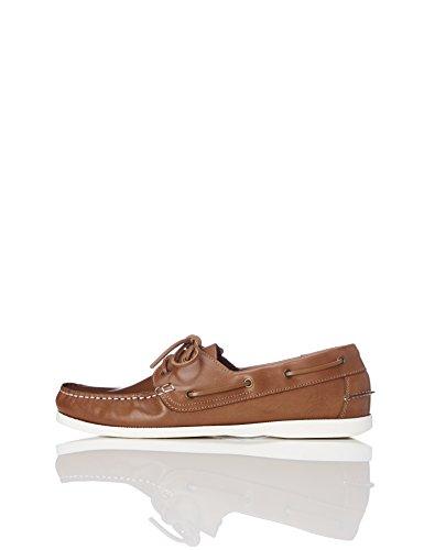 find. Amz038_leather Herren Bootsschuhe, Camel/White, 44 EU